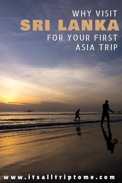 This photo shows fishermen pulling their nets out of the sea on Nilaveli Beach at sunrise. This is an optimized image for Pinterest. There is text on it which reads: Why visit Sri Lanka for your first Asia trip. If you like our article, please pin this image!