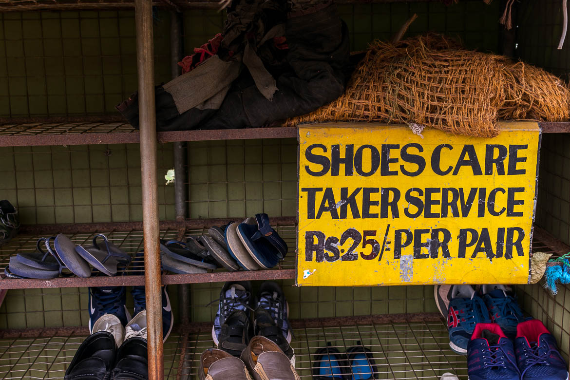 This photo shows a shoe rack outside KoDambulla Cave Temple where visitors are supposed to leave their shoes in order to get near the temple. There are similar facilities outside all major temples in Sri Lanka.