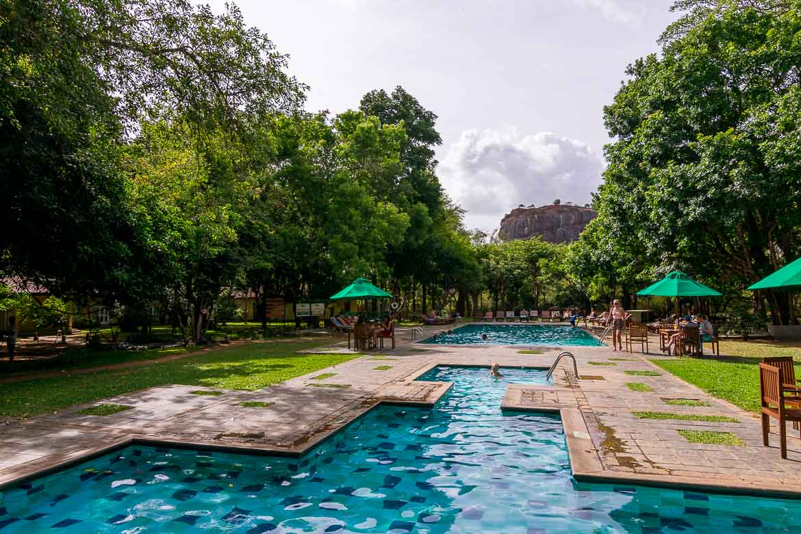This is a photo of the pool at Hotel Sigiriya. The view to Sigiriya Rock is amazing.