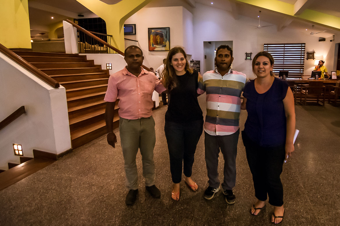 This is a photo of us with our two Sri Lankan drivers, Pradeep and Fernando at the lobby of Jetwing Sea Hotel in Negombo.