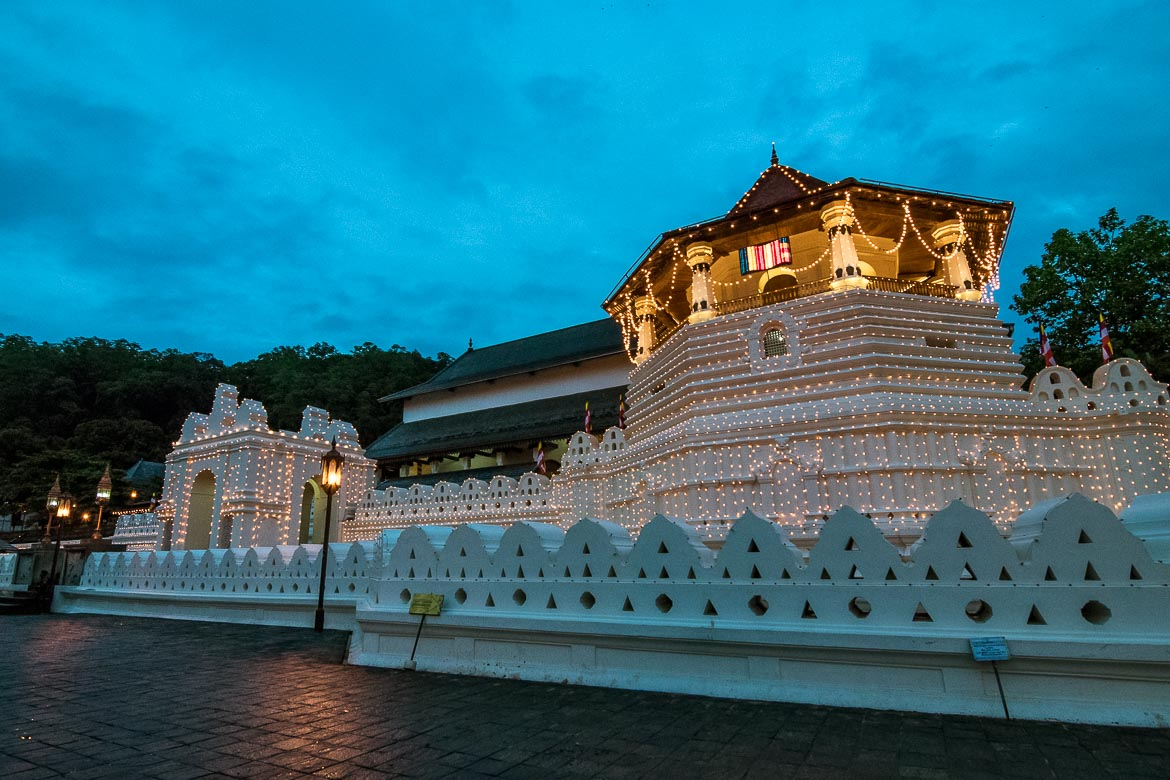 This photo shows the Sacred Tooth Relic temple in Kandy all lit up for the Perahera festival.