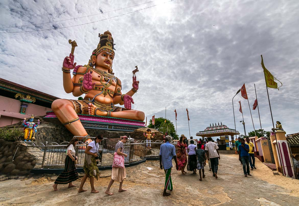 This is a photo of a massive God Shiva statue at Koneswaram Temple in Trincomalee.