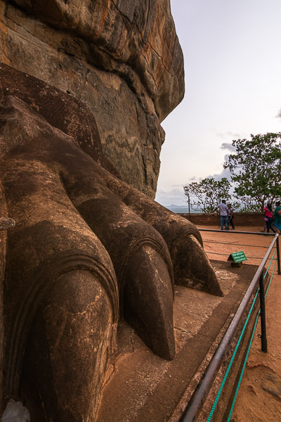 This is a close up of the lion's paw that guards the main entrance to Sigiriya palace.