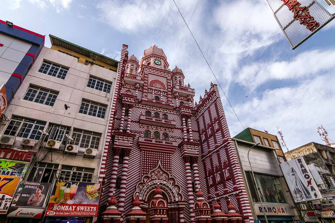 This is a photo of Jami Ul-Alfar Mosque in Pettah district, downtown Colombo. The red mosque, as it's also known, is an architectural wonder which captures everyone's attention with its vivid red and white colours.
