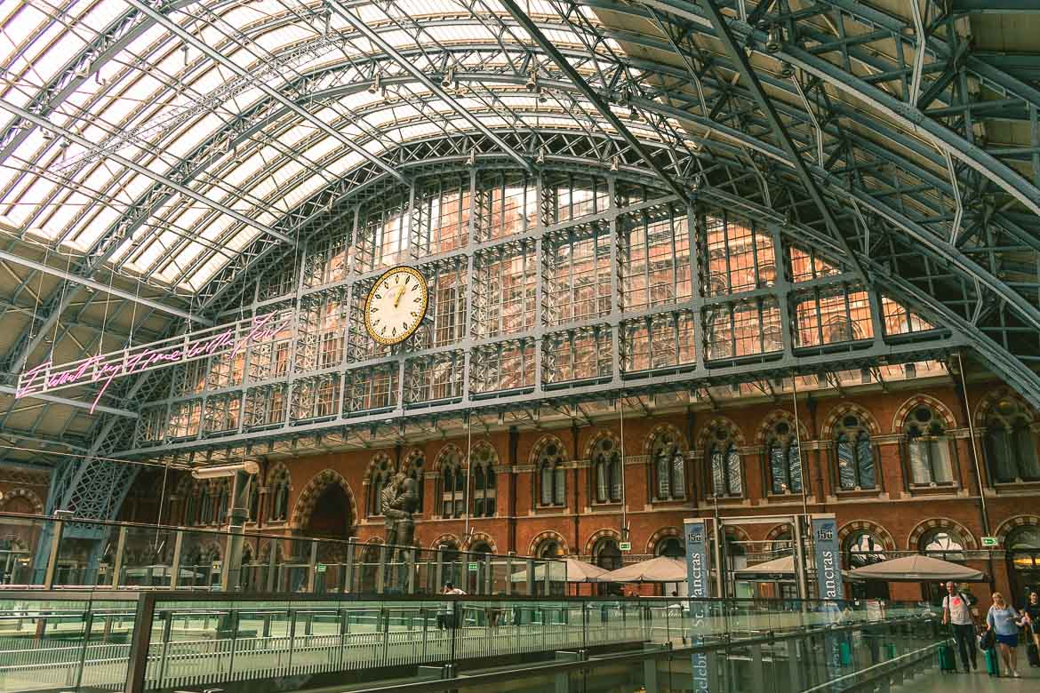 This photo shows the impressive interior of St Pancras Station in London, England. A fine example of Victorian London architecture.