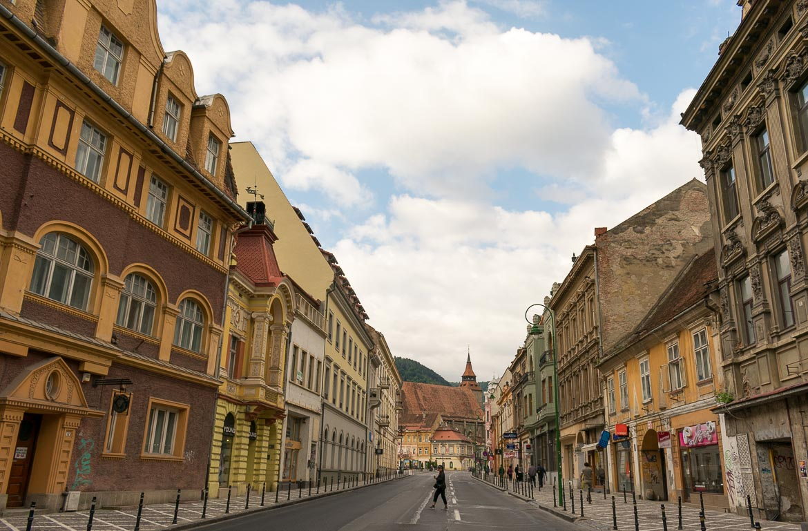 What to do in Brasov Romania in 2 days. Strada Muresenilor early in the morning.