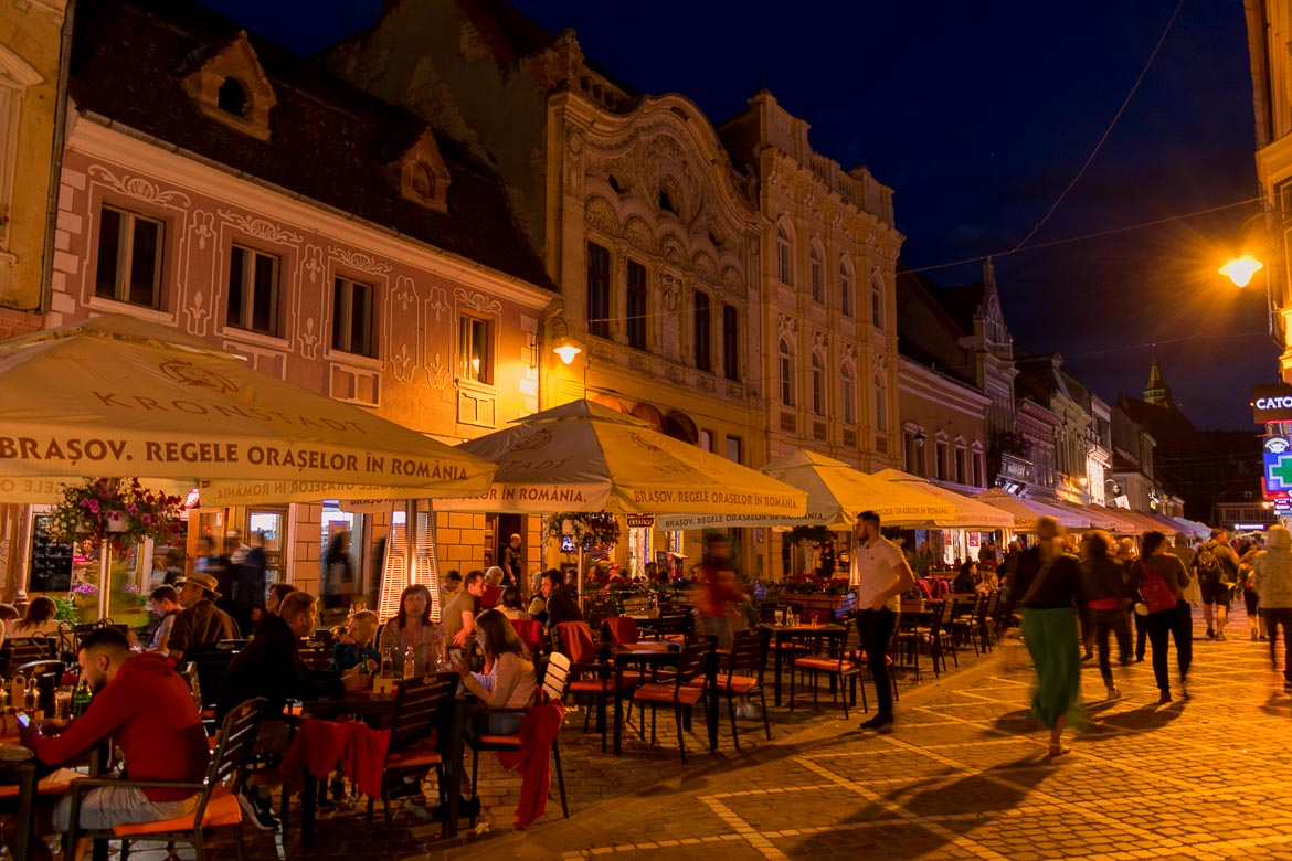 What to do in Brasov Romania in 2 days. Brasov Old Town at night.