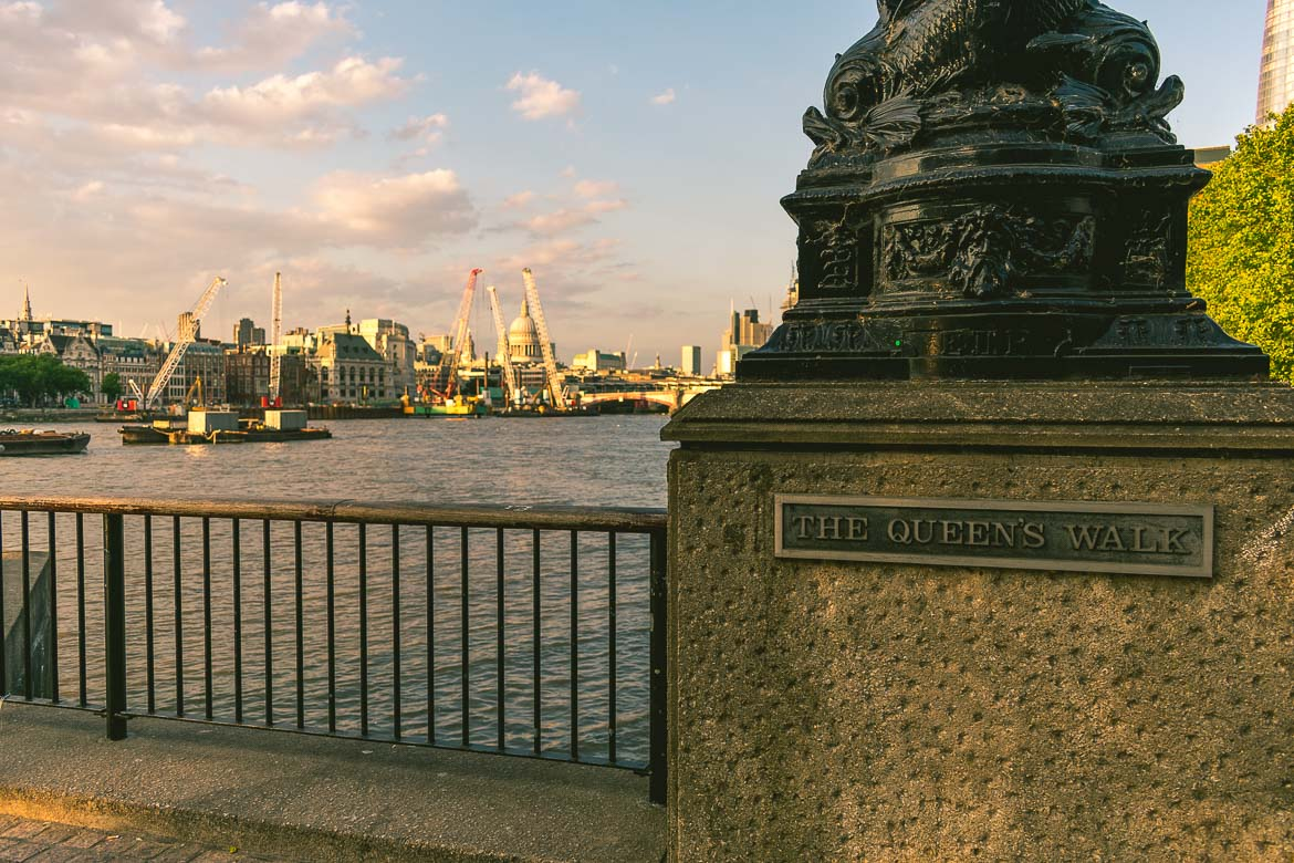 During our South Bank walk we walked the entire length of the Queen's walk. London, England.