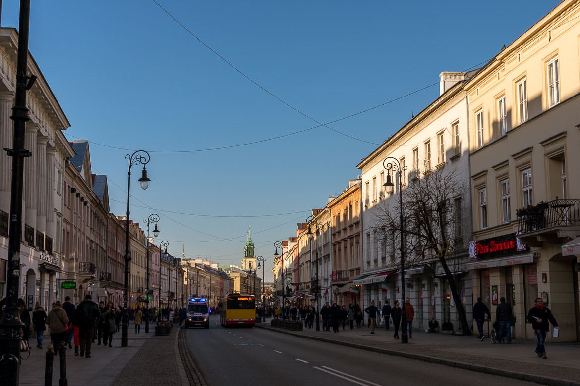 Nowy Świat Street is one of the streets that comprise the Royal Route in Warsaw Poland. Winter in Warsaw. Top things to do and Warsaw city guide.
