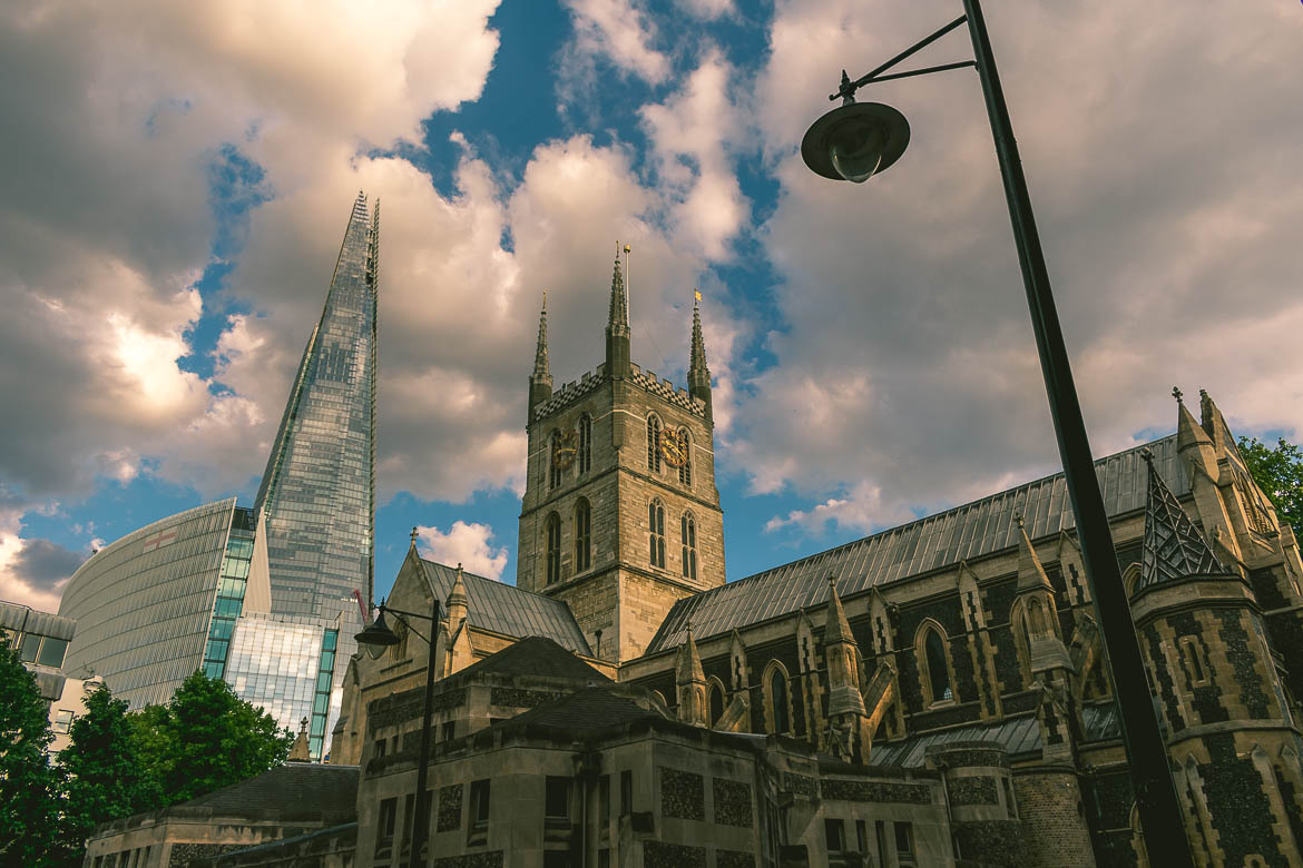 This is a photo of the Shard next to the Southwark Cathedral in London, England. A magnificent view of the Shard we caught during our South Bank walk.