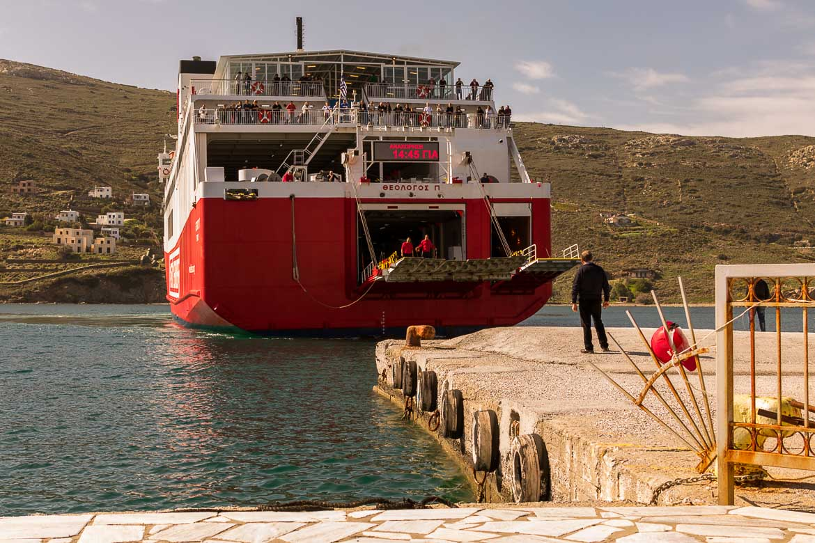 The Fast Ferries ship stops at Gavrio Port. 13 unique things to do in Andros Greece and full Andros Guide.