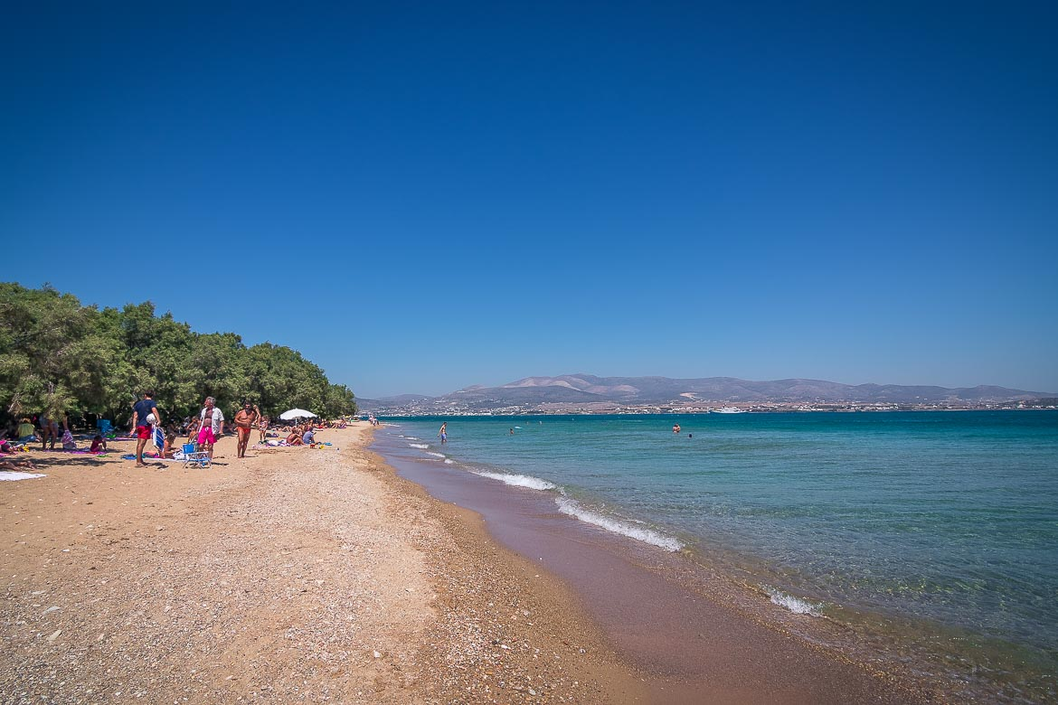 This is a photo of Panagia, a beach near Antiparos Town with crystal clear waters and golden sand.