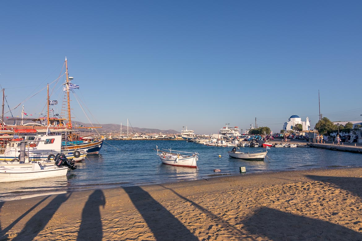 This is a photo of the quaint small boat port in Antiparos. It was shot in the afternoon so there are splendid shadows on the golden sand.