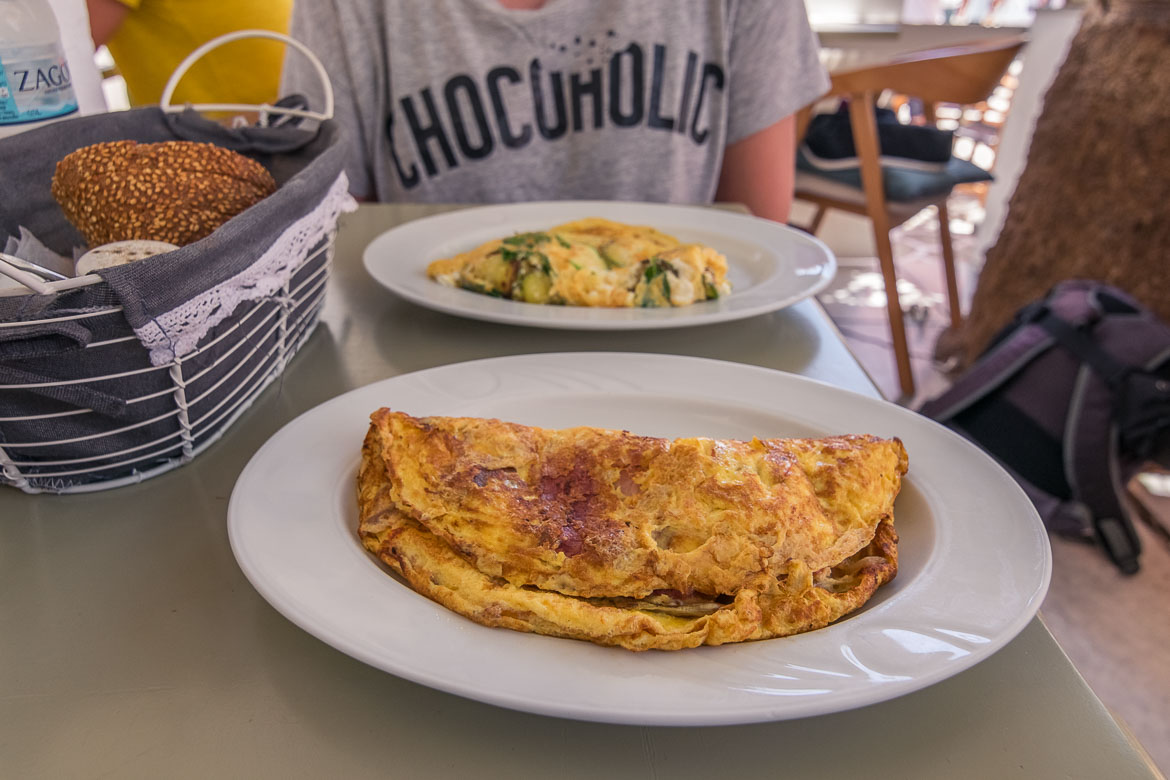 This is a close up of two plates containing omelettes at Margarita Cafe in Antiparos Town.