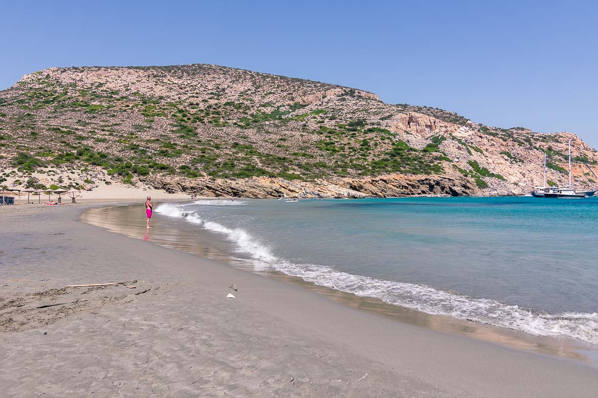 This is a photo of Livadi Beach on Despotiko Island. It is a beach of silver sand and turquoise waters.