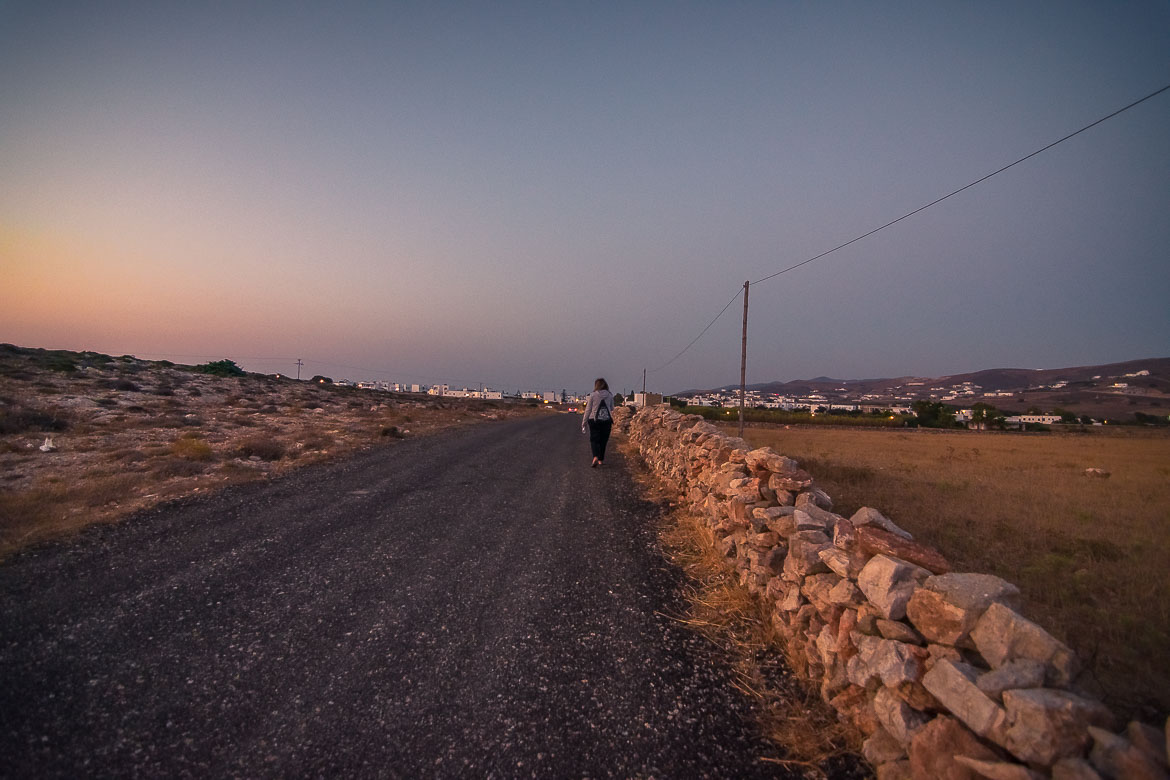 This is a shot of the splendid countryside path that leads from La Luna Disco to Antiparos Town. It is sunrise and the colours in the sky are incredible.