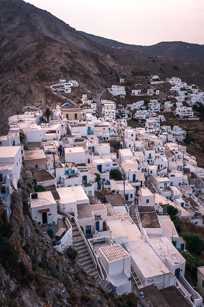 This is a panoramic shot of the Upper Town at sunset.