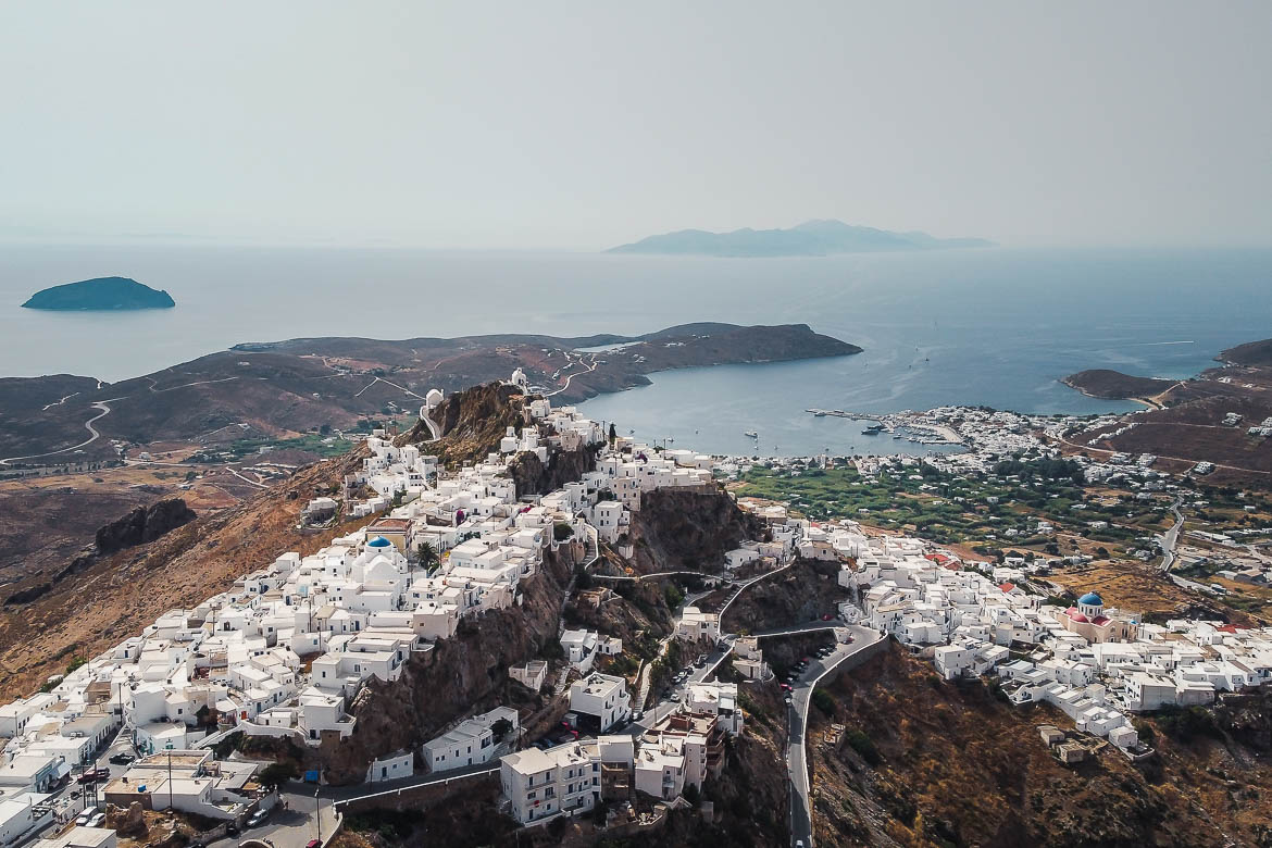 This is a panoramic drone shot of Serifos Chora.