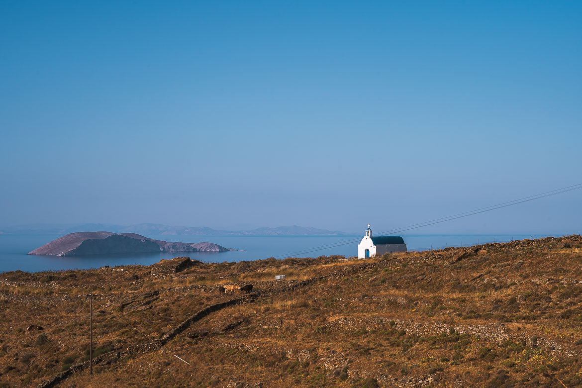 This photo shows a lonely church on a barren slope.