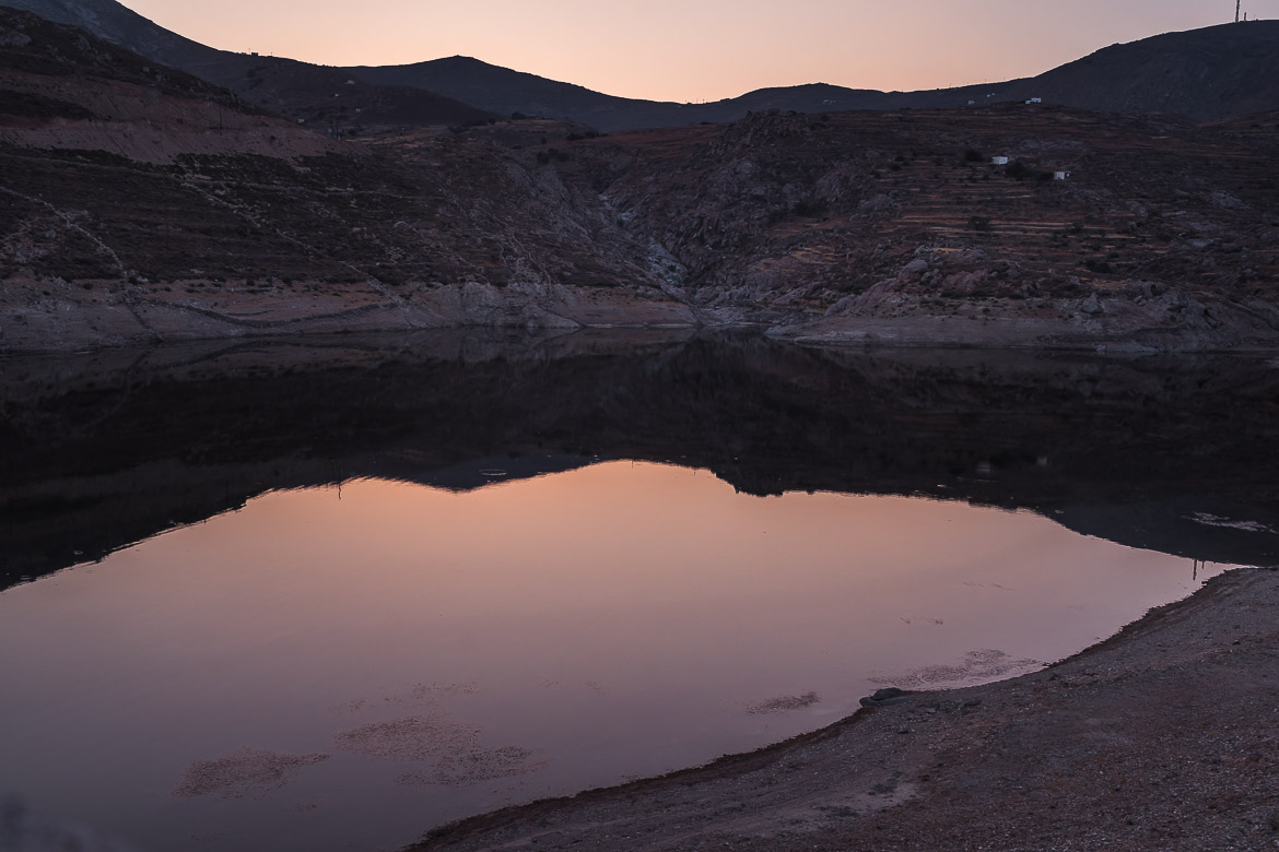 This is a photo of Serifos Dam at sunset.