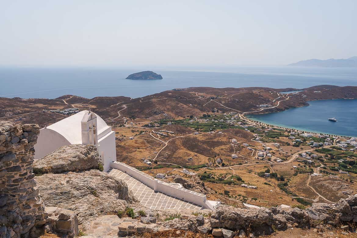 This image shows the view from the Castle to Livadi.