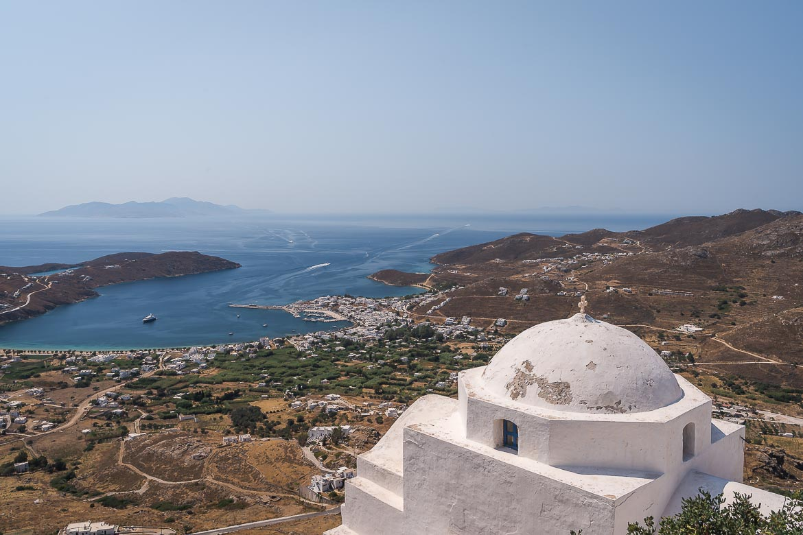 This is a panoramic shot of Livadi Serifos as seen from atop the castle of Chora.