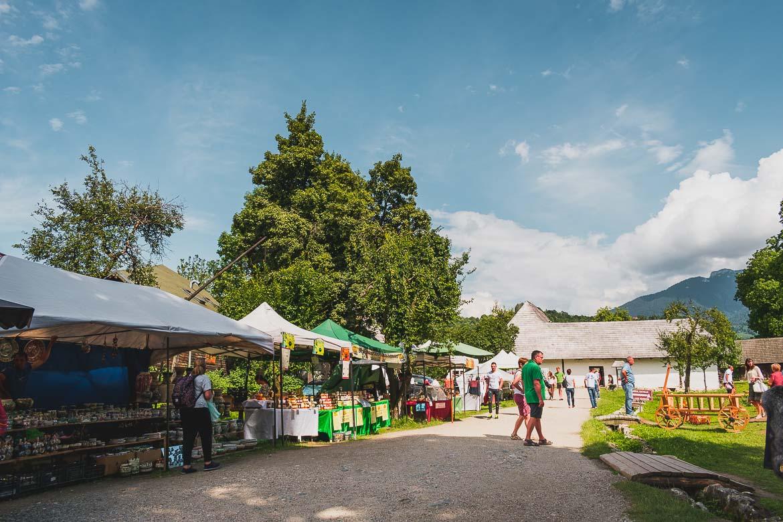 Tourist shops around Castelul Bran. A trip from Brasov to Bran Castle, Romania.