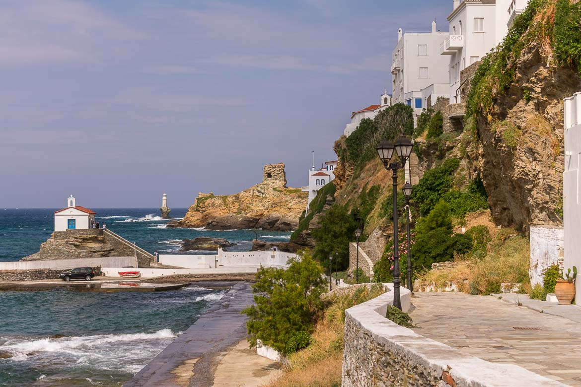 Panagia Thalassini and Tourlitis Lighthouse in Andros Town. 13 unique things to do in Andros Greece and full Andros Guide.