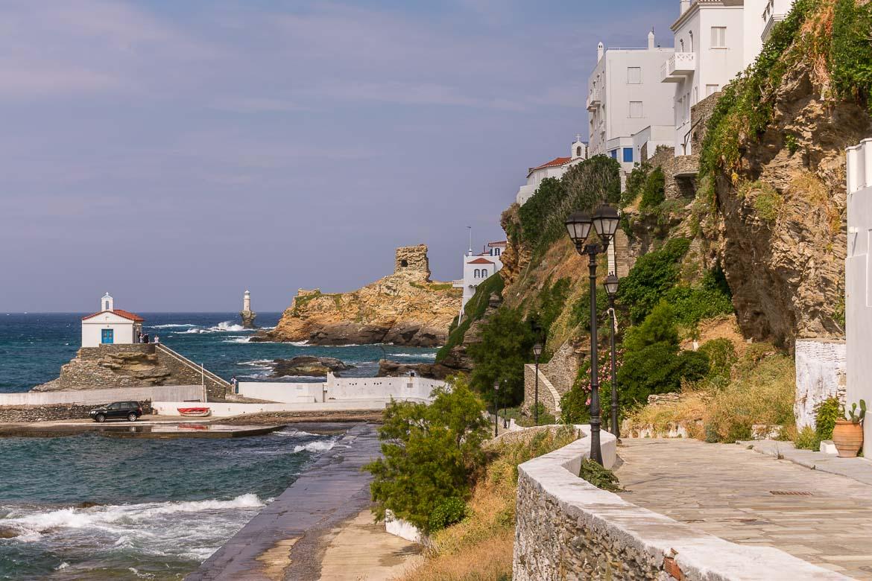 Panagia Thalassini and Tourlitis Lighthouse in Andros Town.