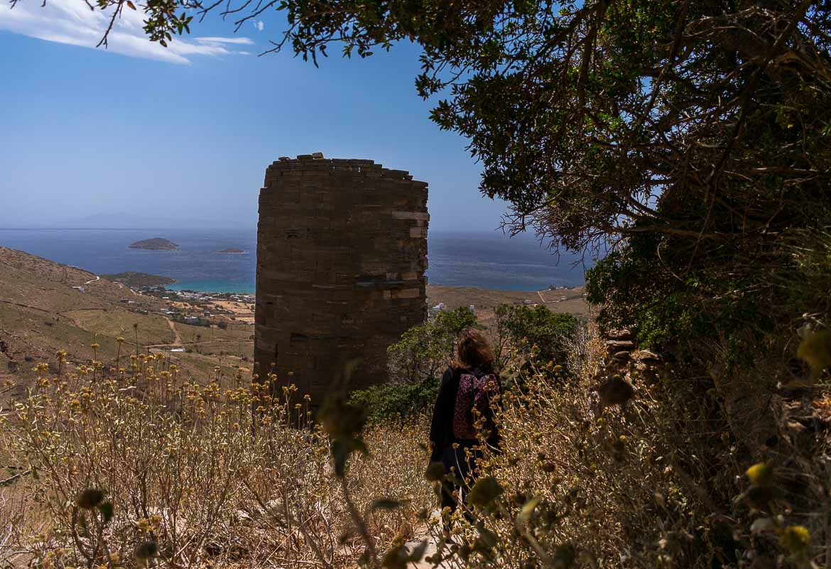 The remains of the Tower of Agios Petros with the Aegean Sea in the background.