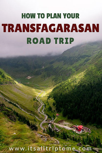 This is an image optimised for Pinterest. It shows the Transfagarasan Highway as it winds its way through the green Fagaras mountains. The pin image reads: How to plan your Transfagarasan road trip. Please pin this image on one of your Pinterest boards!