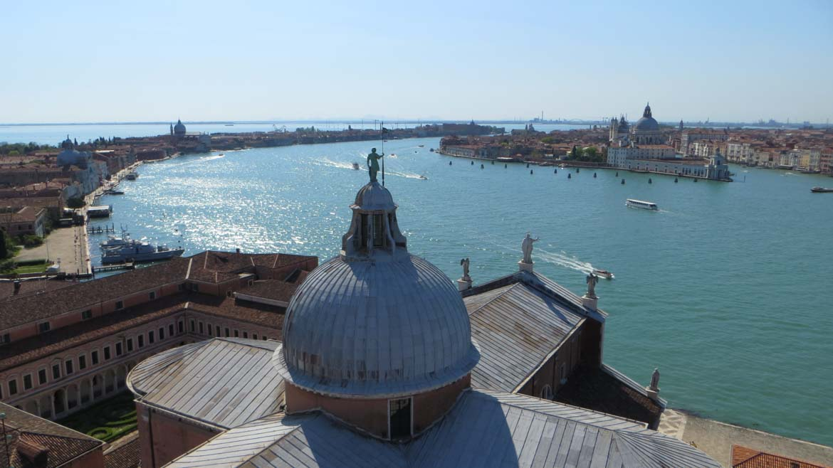 This photo shows Venice as seen from the bell tower of San Giorgio Maggiore. We enjoyed this view as part of our Venice boat tour, one of the top things to do in Venice Italy.