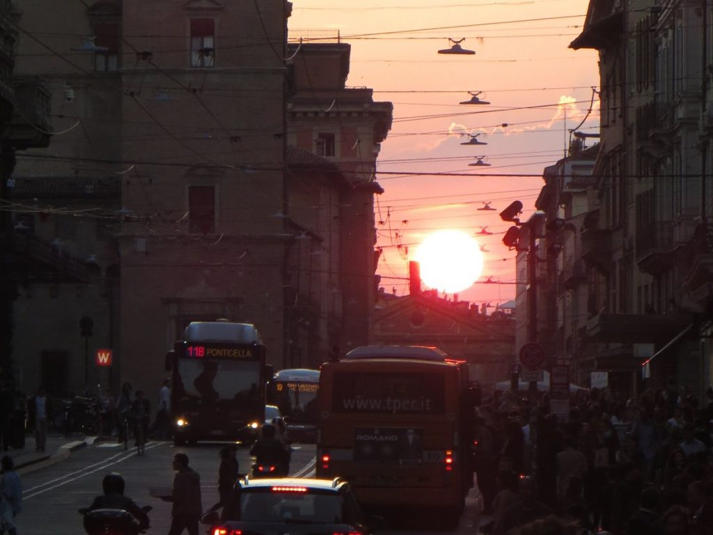 via rizzoli bologna italy sunset