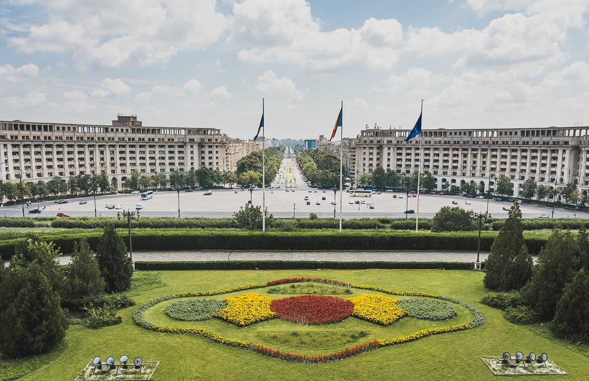 This photo shows the view to Bulevardul Unirii from the Palace of the Parliament, one of the top things to do in Bucharest, Romania.