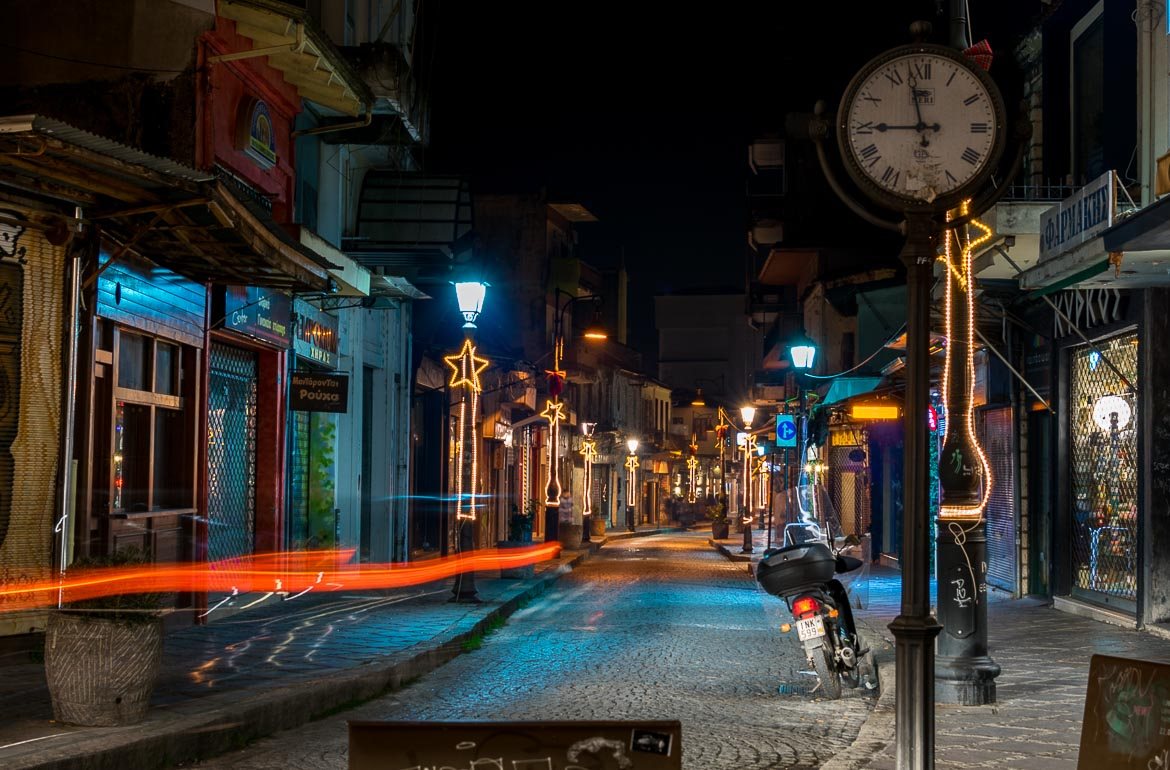 This is a photo of a street in Ioannina in the evening.