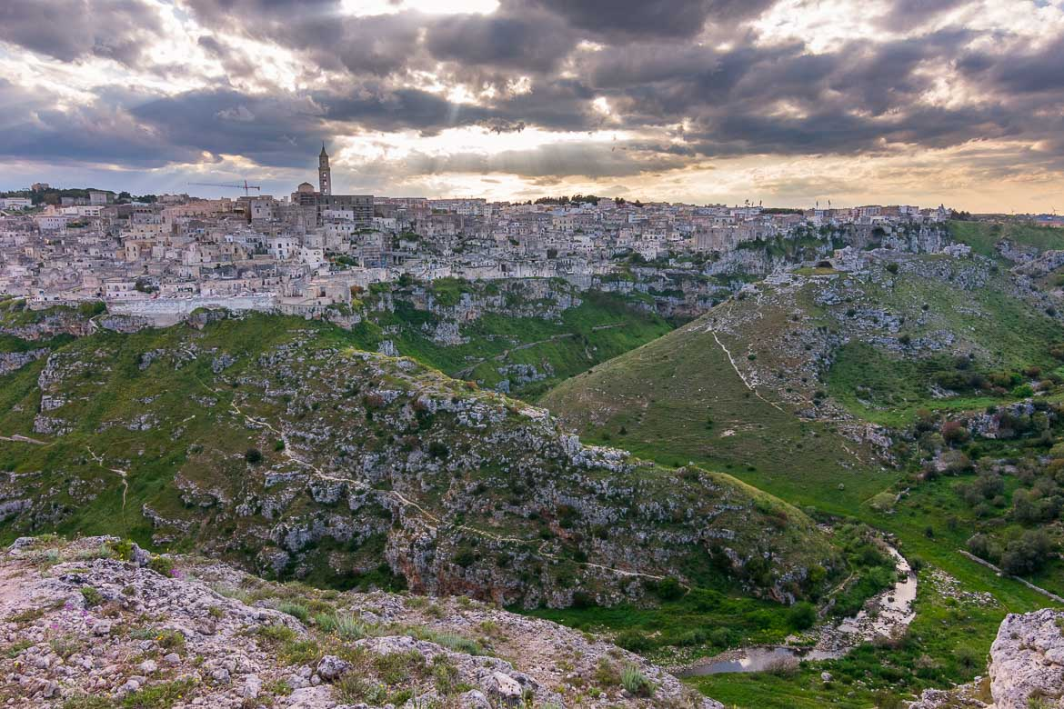 This image shows a panoramic view of Matera from the Belvedere at Murgia Timone.