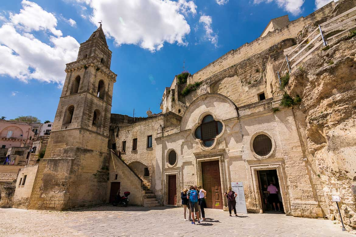 This image shows the facade of San Pietro Barisano along with its bell tower. This is one of the most interesting rupestrian churches in Matera.