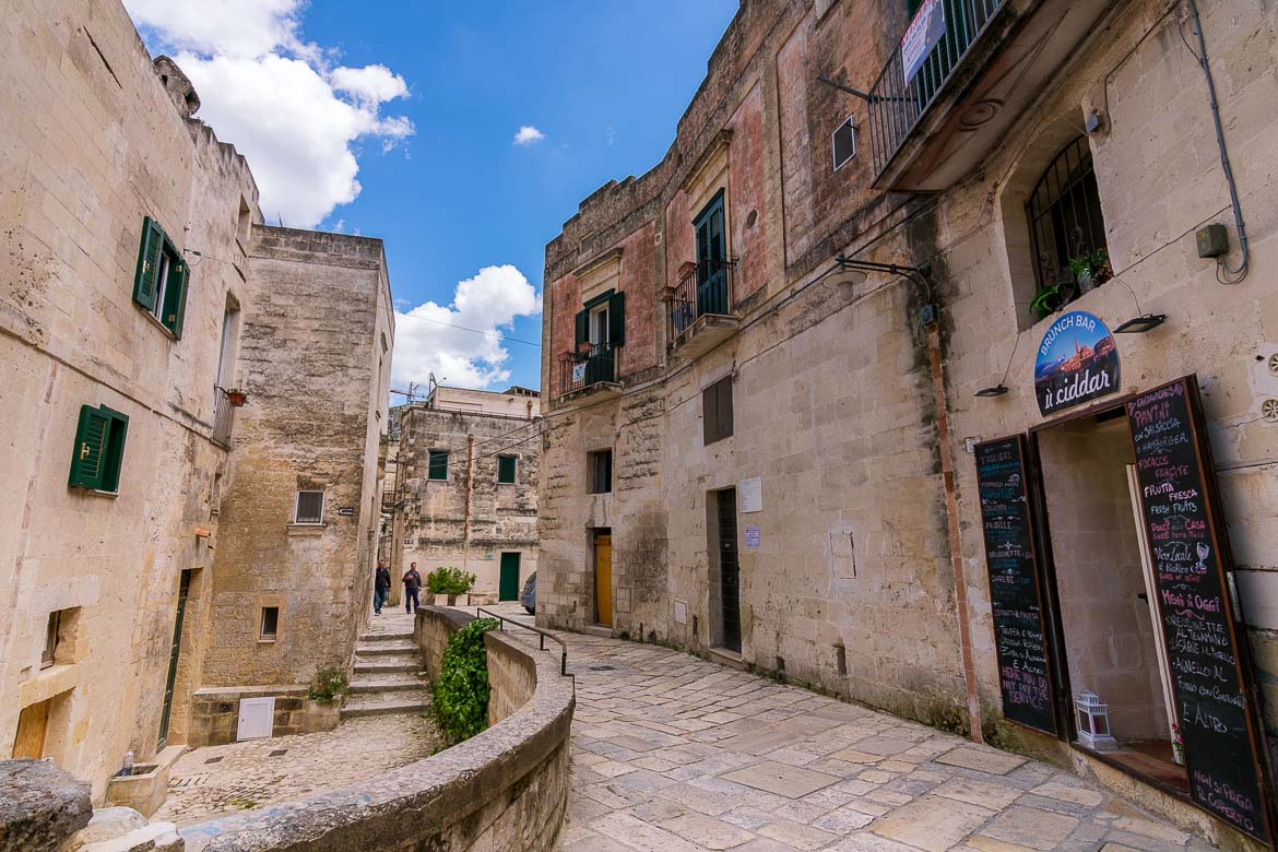 This photo shows one of the countless narrow alleys in Matera Old Town.
