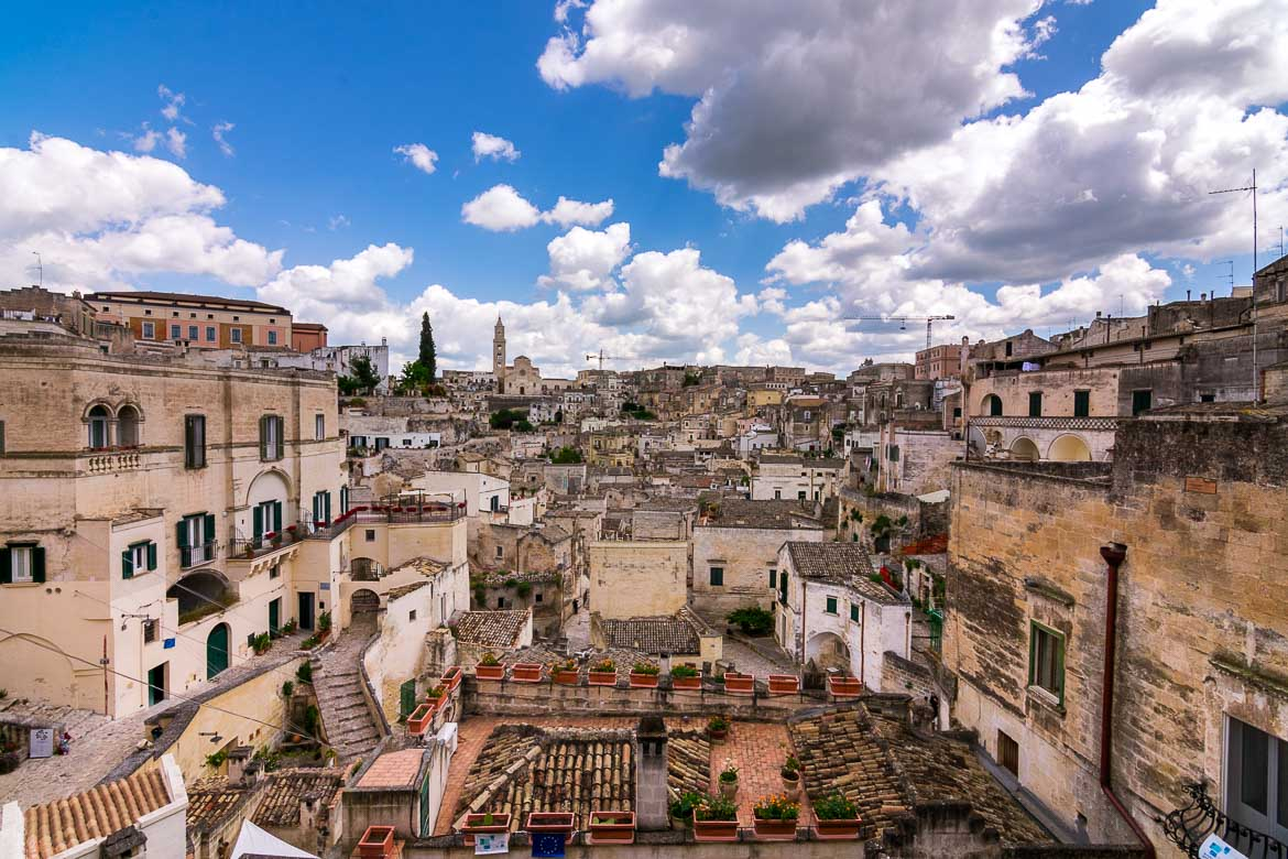 This image shows the view to the Duomo of Matera and the Sassi from Belvedere Luigi Guerricchio at Piazza Vittorio Veneto.