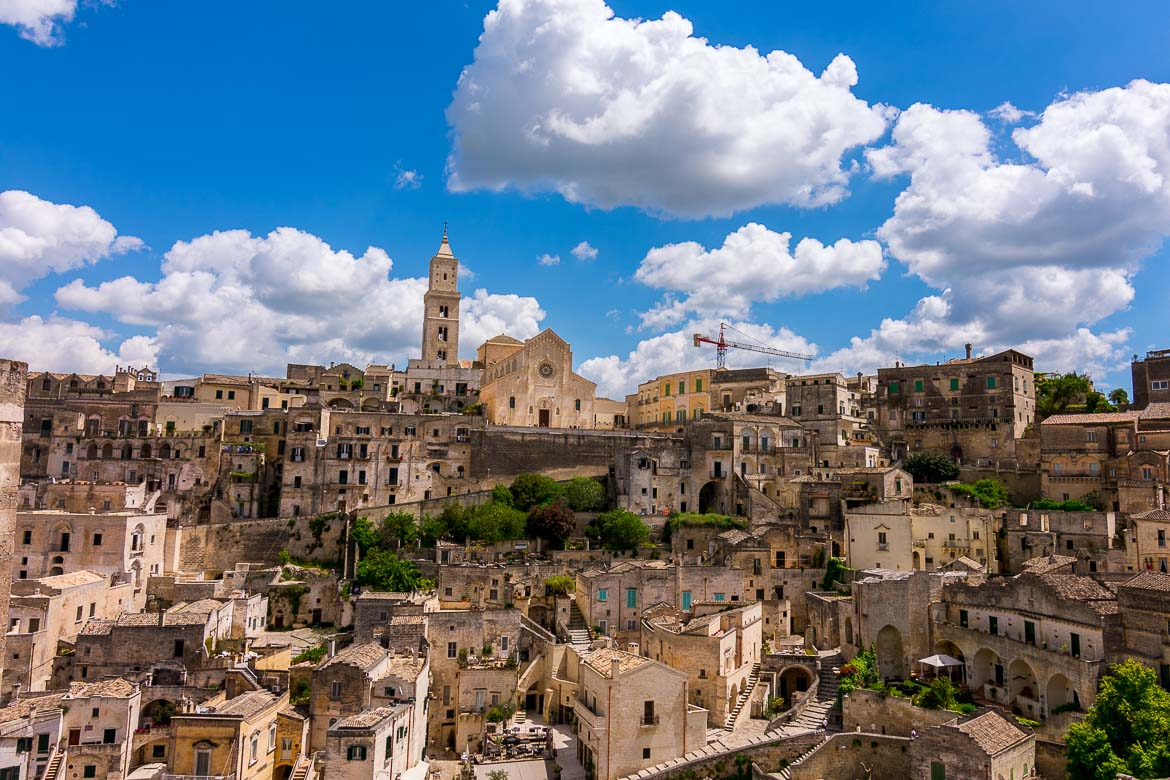 This image shows the Duomo in Matera overlooking the Sassi.