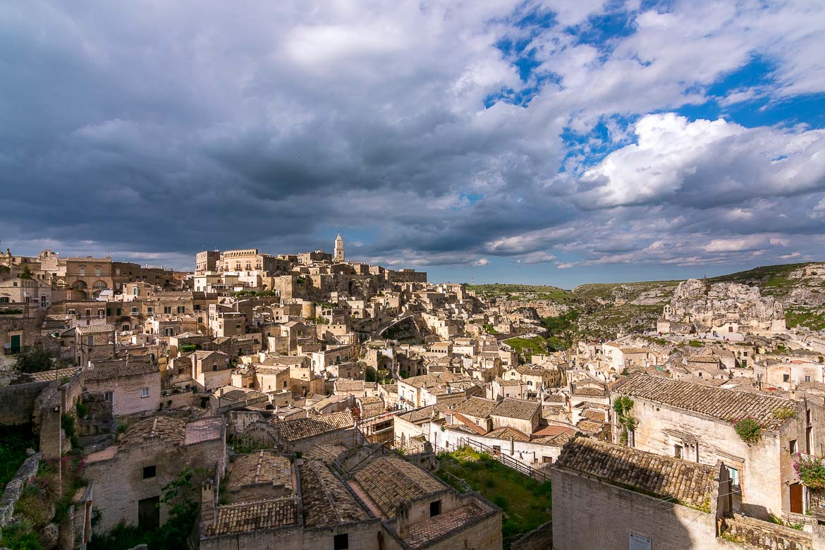 This image shows the iconic view to the Sassi of Matera from Piazza Pascoli. This is usually everyone's first glimpse of the Sassi since Piazza Pascoli is the commonest entry point to Matera Old Town.