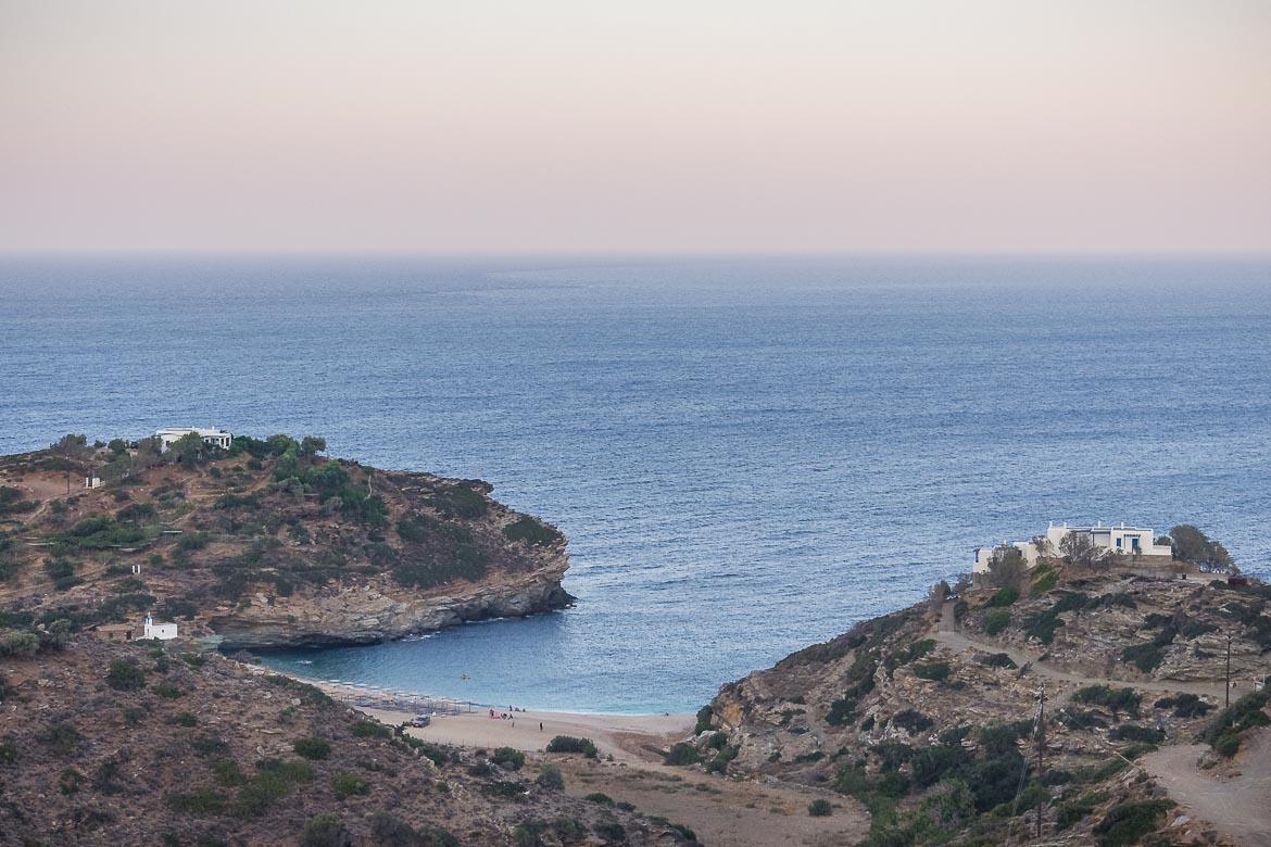 This is a panoramic shot of Vitali Beach late in the afternoon. Vitali is one of the most pristine Andros Beaches.