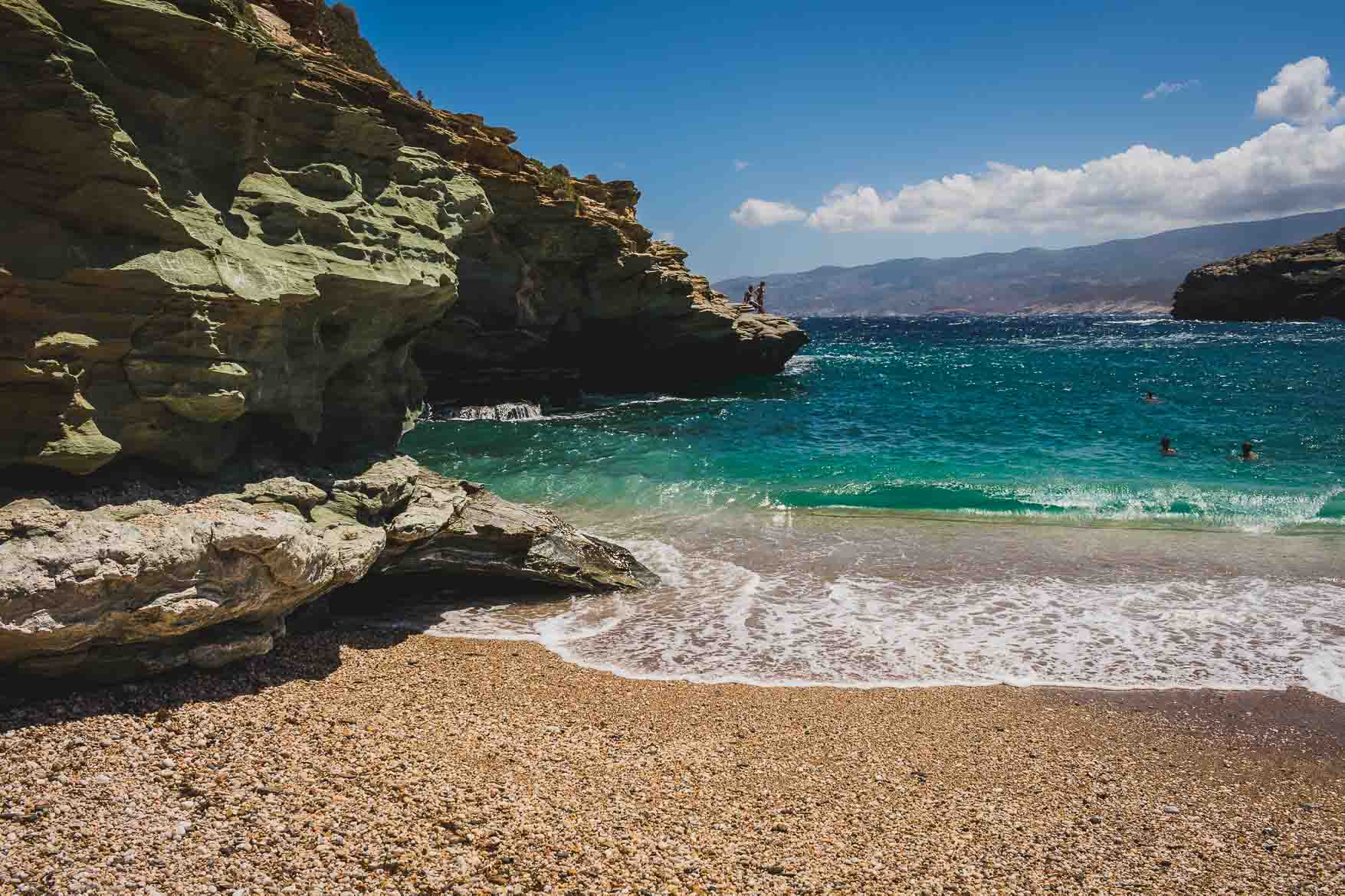This photo shows beautiful, remote Vitali beach on Andros island, Cyclades, Greece. Andros Routes offer everyone unique hiking opportunities on one of the most beautiful greek islands.