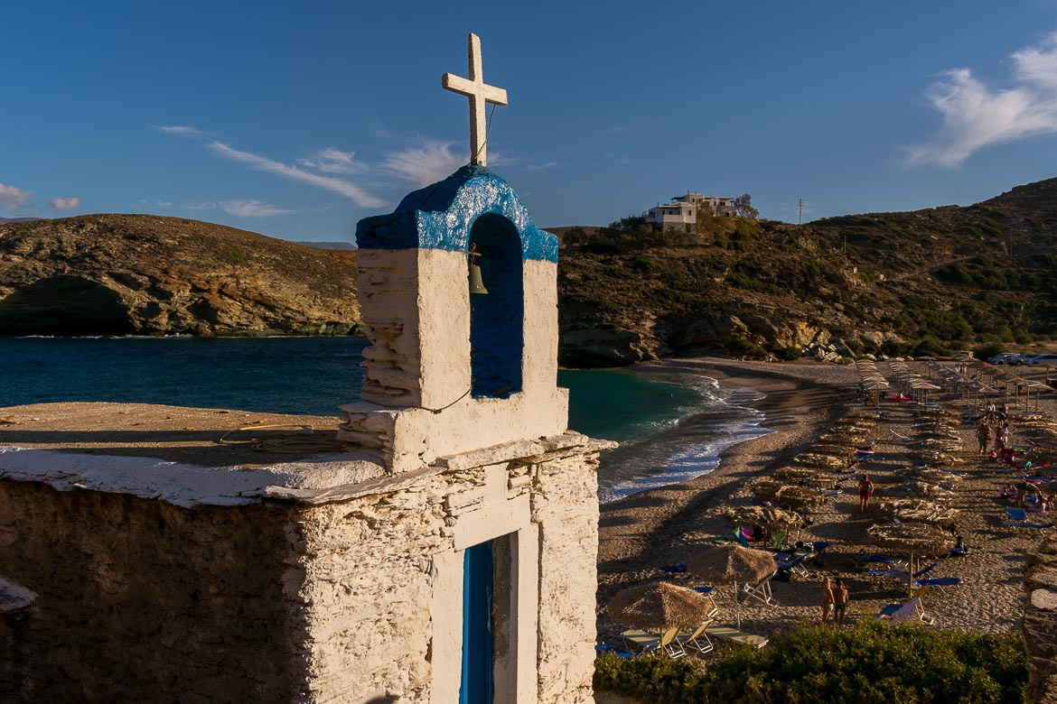 The chapel and the beach at Vitali. 13 unique things to do in Andros Greece and full Andros Guide.