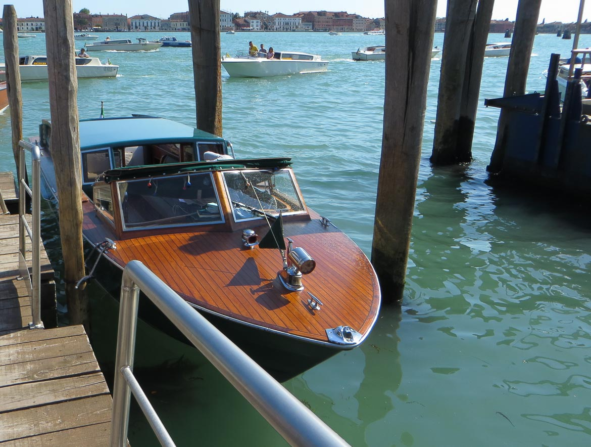 This photo shows the water taxi that took us on a magnificent Venice boat tour organised by walks. A venice boat ride is one of the top things to do in Venice Italy.
