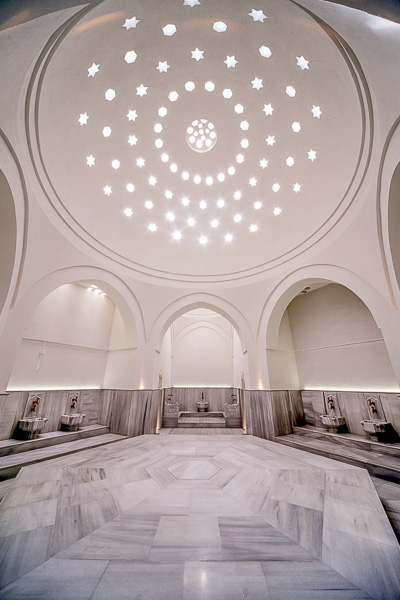 This image shows the dome at Kilic Ali Pasa Hamami in Istanbul as seen from inside the hamam.