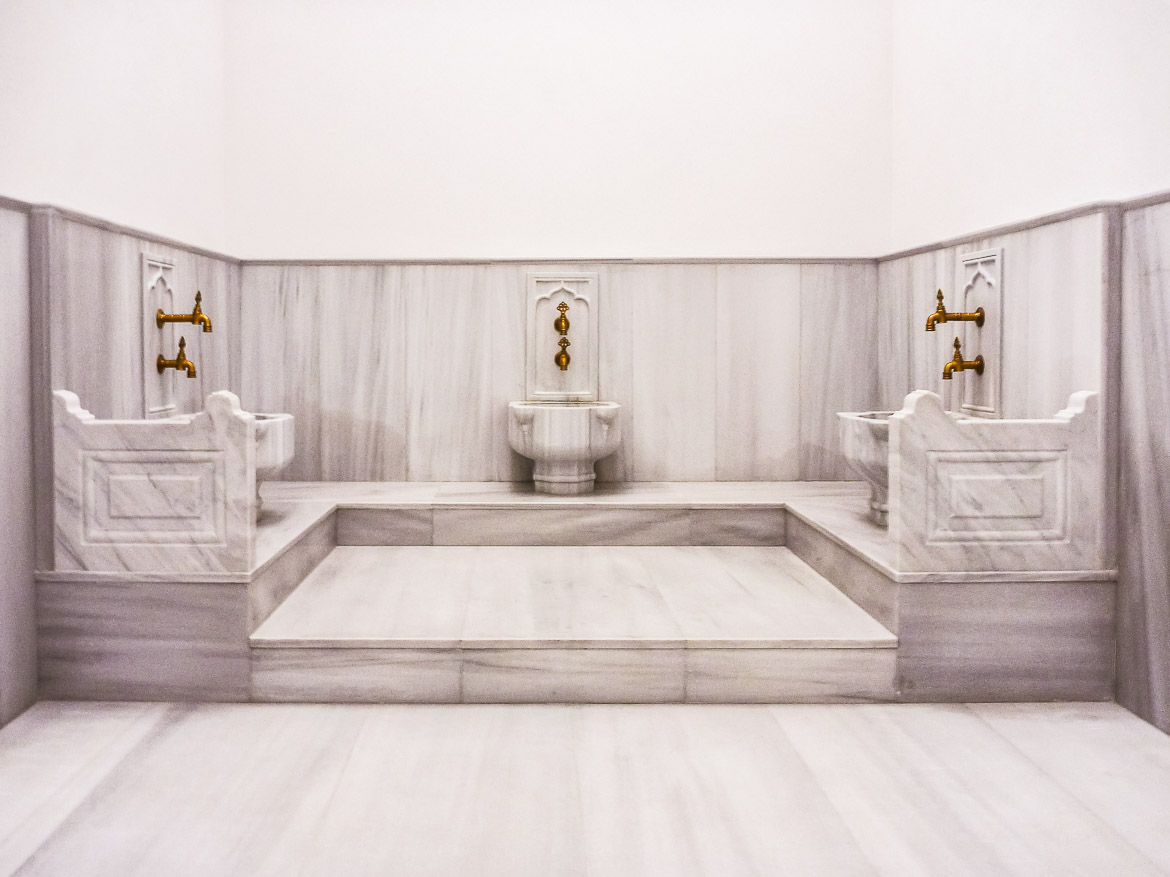 This image shows the marble basins at Kilic Ali Pasa Hamami in Istanbul.