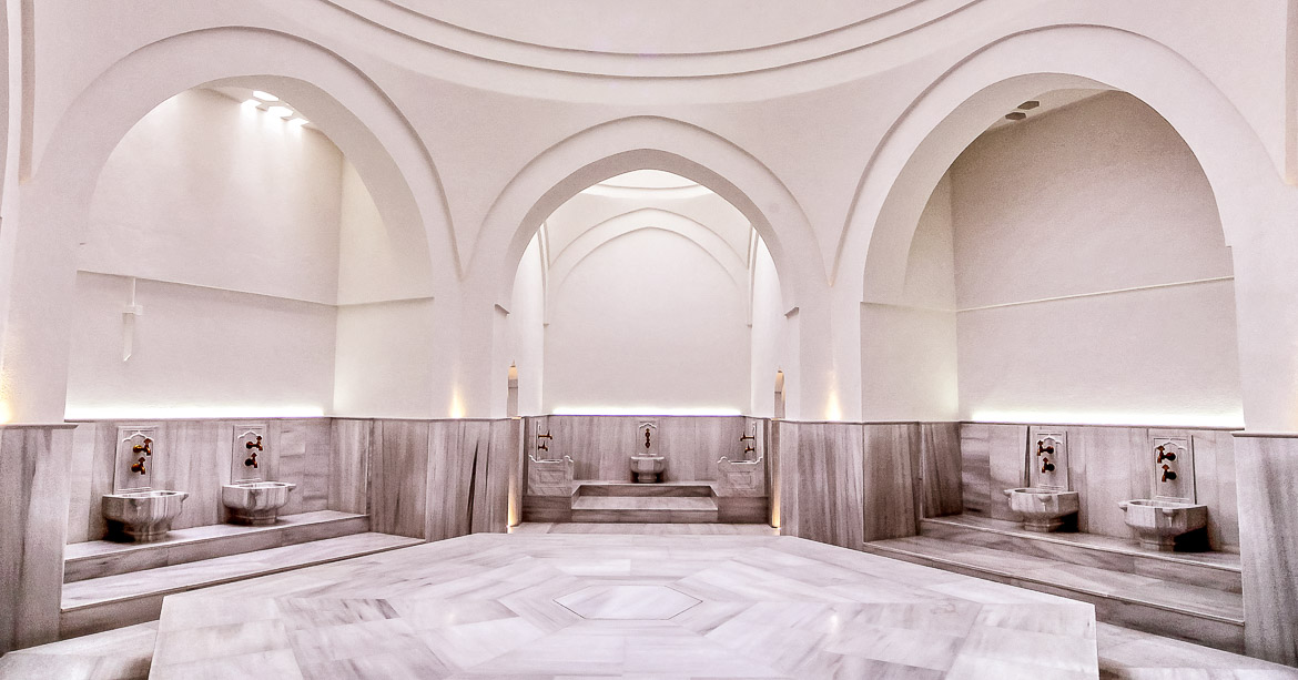 This image shows the heated marble surface at Kilic Ali Pasa Hamami in Istanbul.