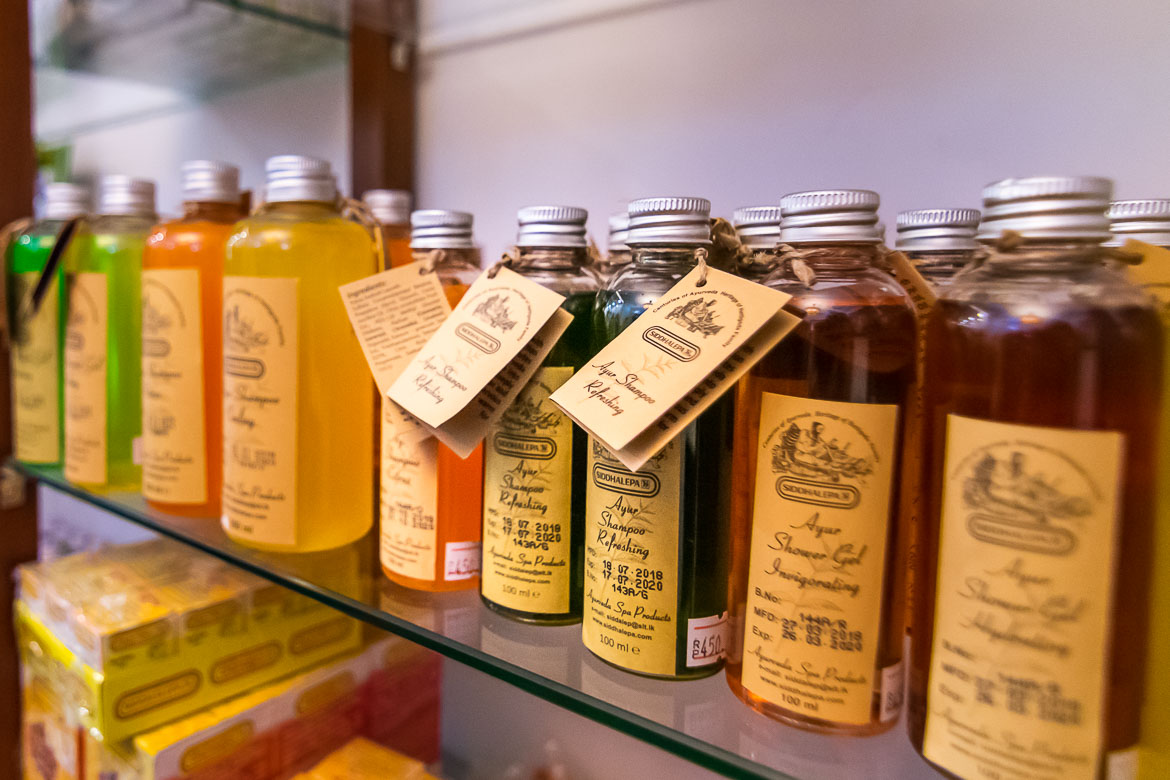 This image shows shelves with various Ayurvedic products.