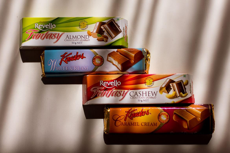 This photo shows 4 chocolate bars made in Sri Lanka.